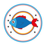 Sea fish emblem icon Stock Image