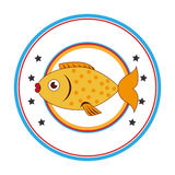 Sea fish emblem icon. Vector illustration design Stock Photos
