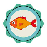 Sea fish emblem icon Royalty Free Stock Photography