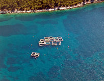 Sea fish farms, aerial. View royalty free stock photography