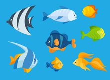 Sea fish flat icon set. Colorful flat icon set of a sea fishes on the blue background. Sea animal characters Stock Photography