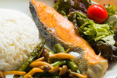 Sea Fish Fried ,white rice,fried vegetables and vegetable Royalty Free Stock Photography