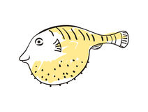 Sea fish hand drawn icon. Isolated on white background vector illustration. Japan ethnic culture element Royalty Free Stock Image