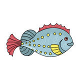 Sea fish icon in cartoon style isolated on white background. Sea animals symbol stock vector illustration. Sea fish icon in cartoon design isolated on white Royalty Free Stock Images