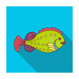 Sea fish icon in flat style isolated on white background. Sea animals symbol stock vector illustration. Sea fish icon in flat design isolated on white Stock Photos