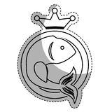 Sea fish icon. Seal stamp with fish and decorative crown icon over white background. vector illustration Stock Photos