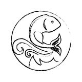 Sea fish icon. Seal stamp with fish icon over white background. vector illustration Stock Photography