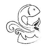 Sea fish icon. With waves over white background. vector illustration Stock Photo