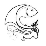 Sea fish icon. With waves over white background. vector illustration Royalty Free Stock Photos