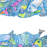 Sea fish illustration. watercolor background Stock Image