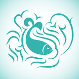 Sea fish. Marine fish dolphin styling with elements of the wave.Logo icon emblem template Royalty Free Stock Photo