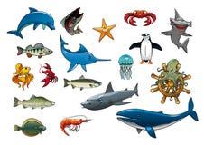 Sea fish and ocean animals cartoon vector icons Royalty Free Stock Photo