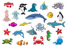 Cartoon sea fish and ocean animals vector icons Royalty Free Stock Photography