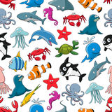 Sea fish and ocean animals vector cartoon pattern. Cartoon pattern of sea fish and ocean animals starfish and seahorse, squid and jellyfish, seal, dolphin and Royalty Free Stock Photo