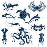 Sea fish and ocean animals vector isolated icons. Fishes, sea o ocean animals vector icons. Turtle, marlin or tuna, crab with fisher tackle net and octopus vector illustration