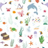 Sea fish, sea animals and water plant. Seamless pattern. On a white background Stock Image