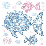 Sea Fish set. Hand drawn  illustration. Sea set of fish and snails. Hand drawn  illustration Royalty Free Stock Images