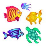 Sea fish, turtle and jellyfish to decorate posters, banners, lea. Flets. Vector illustration Stock Photography