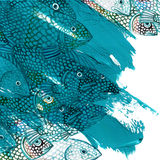 Sea fish watercolor illustration and blue brush stroke background Royalty Free Stock Photos