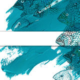 Sea fish watercolor illustration and blue brush stroke background Stock Photos