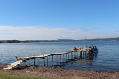 Sea and fishermen. On the dock at Çanakkale Throat Stock Photography