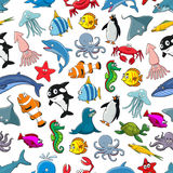 Sea fishes animals cartoon vector seamless pattern Royalty Free Stock Image