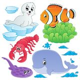 Sea fishes and animals collection 5. Vector illustration Royalty Free Stock Photo