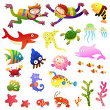 Sea fishes and animals collection. Stock Photo