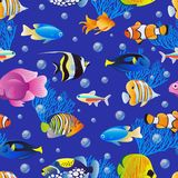 Sea fishes collection on blue water background. Vector seamless pattern. Cartoon aquarium kids textile print design