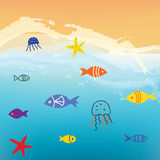 Sea and fishes funny background  with waves Royalty Free Stock Image