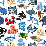 Sea fishes, ocean animals vector cartoon pattern Royalty Free Stock Photography