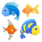 Sea fishes set. Vector fish. Cartoon cute character. Cartoon fish. Hand draw illustration. Stock Images