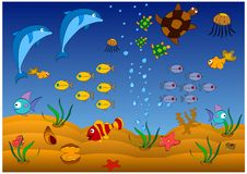 Sea fishes, turtles and shells in the sea are cheerful inhabitants. Of the tender sea stock illustration