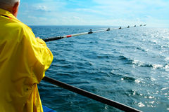 Sea fishing. Fishing for herring and cod in a Kattegatt strait, right between Sweden and Denmark Royalty Free Stock Image