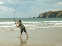 Sea Fishing on Beach Royalty Free Stock Images
