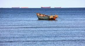 Sea and fishing boat Royalty Free Stock Image