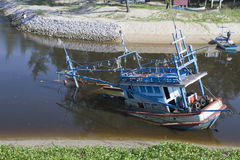 The Sea fishing boat sank Royalty Free Stock Image