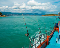 Sea fishing from the boat, Stock Photo