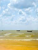 Sea with fishing boats. Royalty Free Stock Images