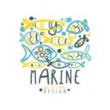 Sea or fishing club logo original design with lettering and abstract different fish in water. Flat creative hand drawn Royalty Free Stock Images
