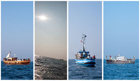 Sea fishing collection. Collection of sea fishing theme with vertical banners of fishing vessels stock image