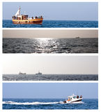 Sea fishing collection. Collection of sea fishing theme with horizontal banners of fishing vessels stock photo