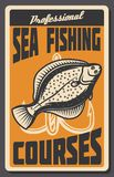 Sea fishing courses retro banner of fish and hook. Sea fishing courses vintage banner with fish and hook. Deep water ocean flounder fish with treble hook retro Royalty Free Stock Images