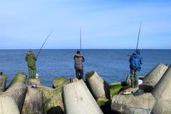 Sea fishing - fishermen catch a sprat Stock Images