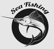 Sea fishing logo Royalty Free Stock Photography