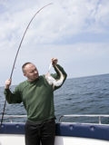 Sea fishing from motorboat Royalty Free Stock Photo