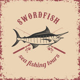 Sea fishing tours. Swordfish on grunge background. Royalty Free Stock Photo