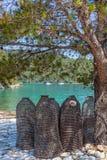 Sea fishing traps. Traditional Croatian fishing traps. Island Mljet near Dubrovnik, Croatia Royalty Free Stock Images
