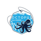 Sea fishing vector icon of octopus and fish rod Royalty Free Stock Photography