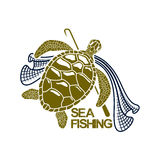 Sea fishing vector icon of turtle and fishing net. Sea or ocean fishing icon with green turtle and fish net snare and harpoon spear or gaff. Vector or emblem for Stock Images